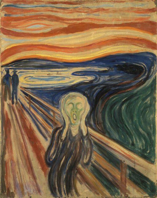 Bild einer Person auf einer Brücke, die Hände seitlich an den Kopf pressend, mit weit offenen Mund schreiend