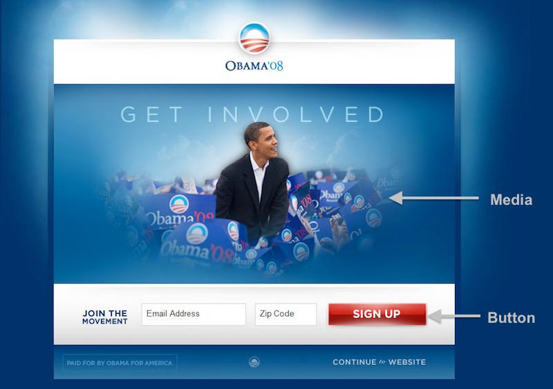 Bildausschnitt der Kampagnen-Website von Barack Obama 2012